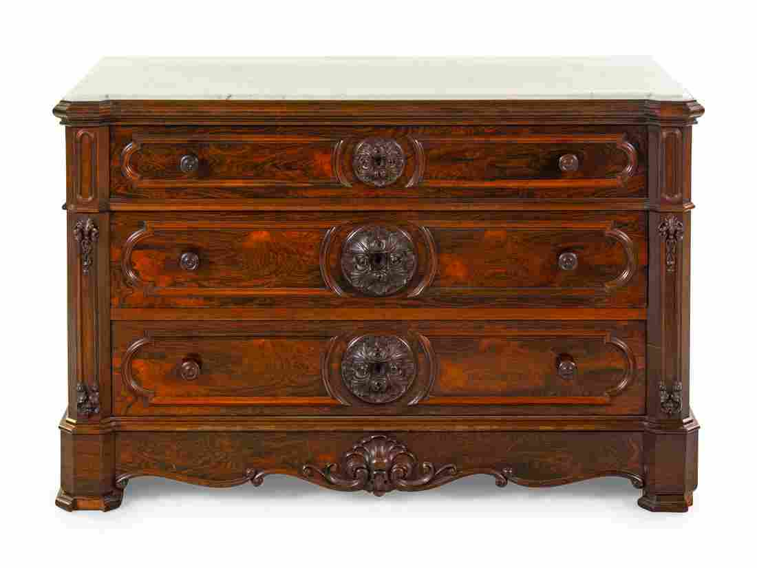 A Rococo Revival Rosewood Chest of Drawers