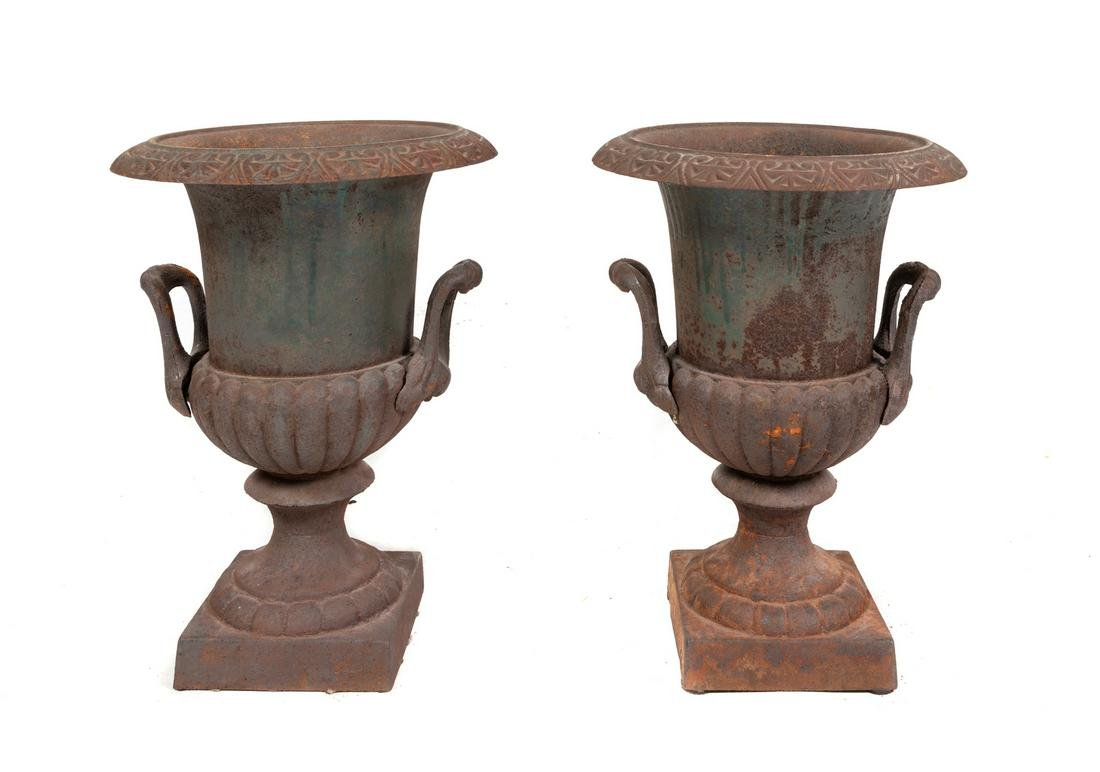 A Pair of Victorian Cast Iron Urns