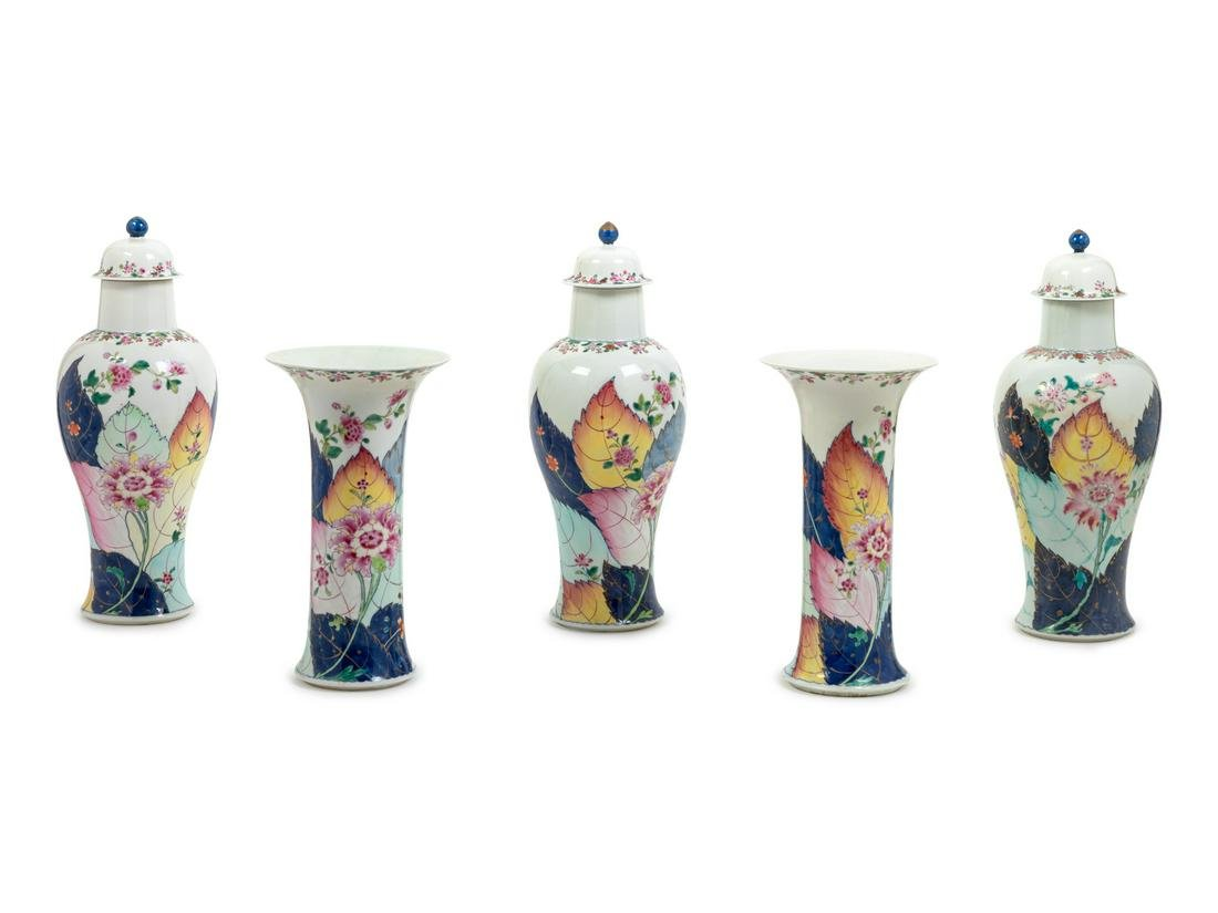 A Chinese Export Five-Piece Tobacco Leaf Porcelain