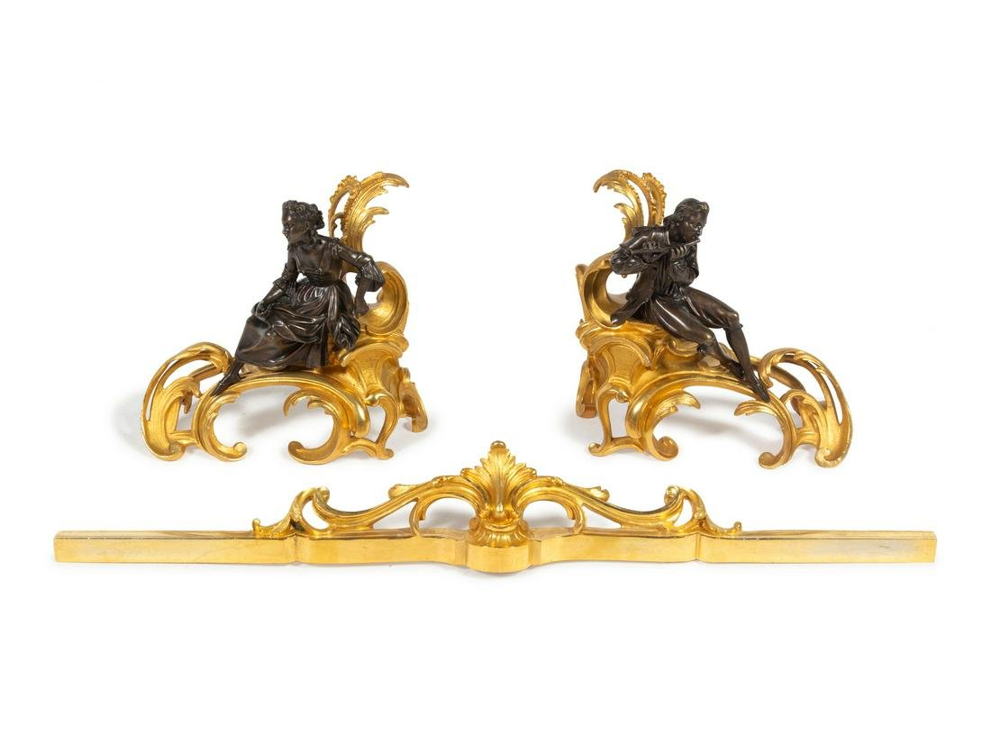 A Pair of Louis XV Style Gilt and Patinated Bronze