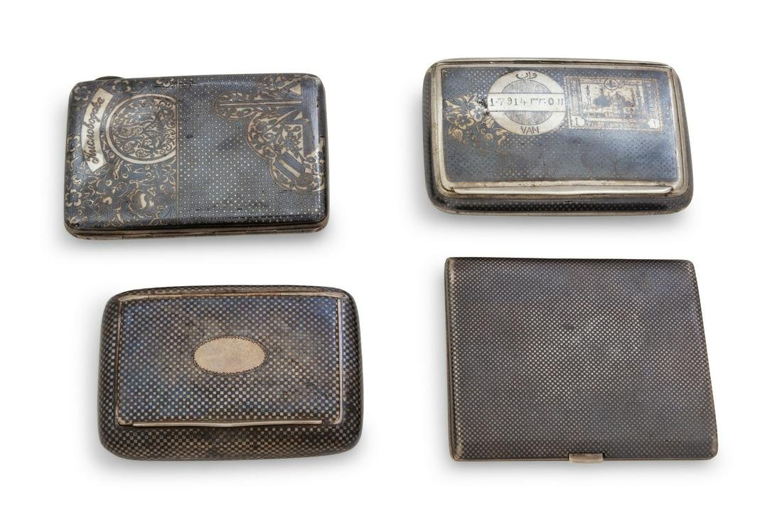 Four Middle Eastern Silver Cigarette Cases