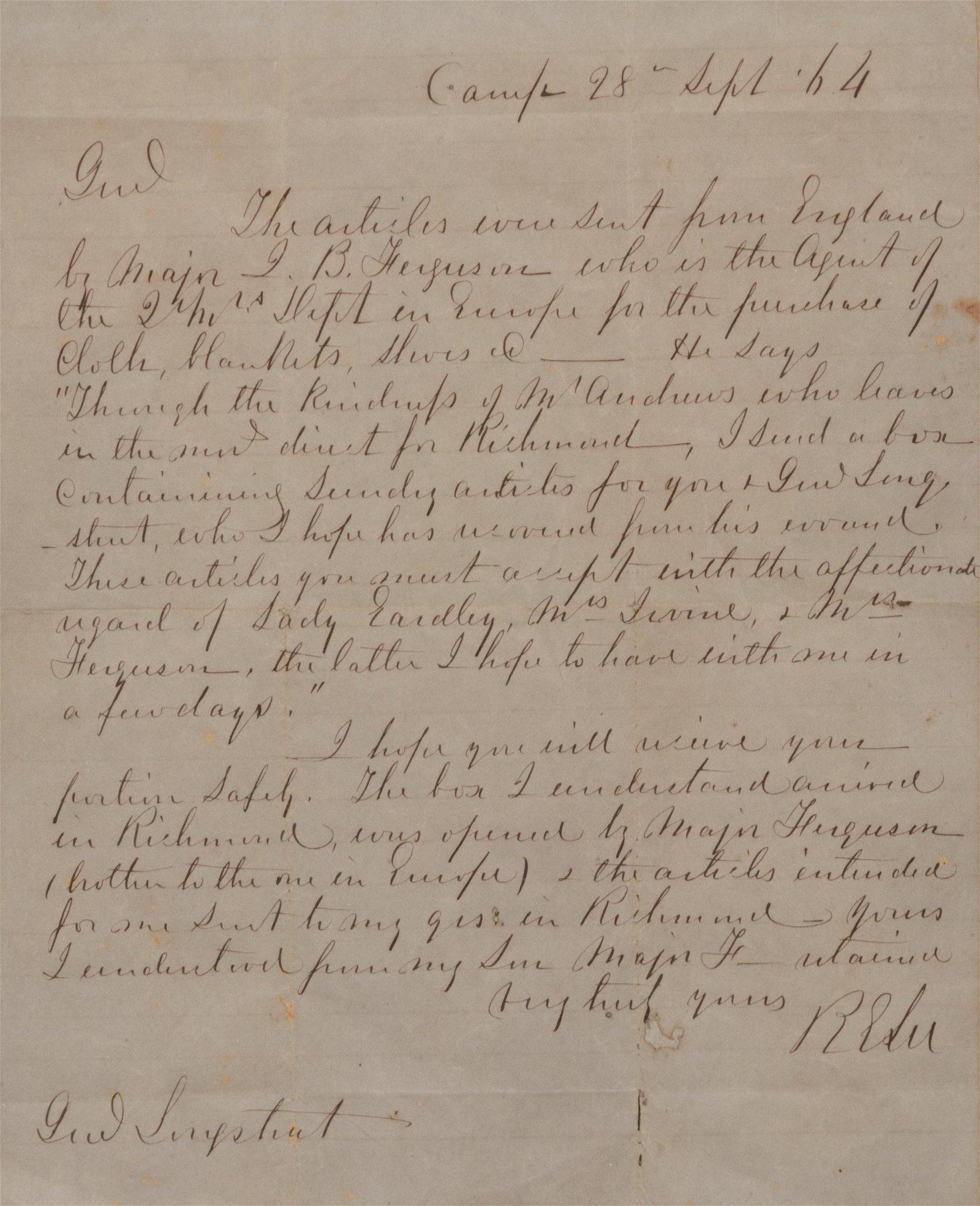 LEE, Robert E. (1807-1870). Autograph letter signed