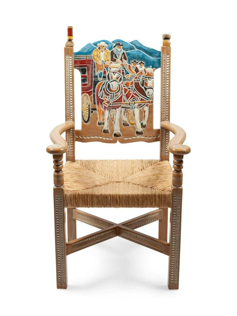 Painted Stagecoach Wood and Wicker Chair height 43 x
