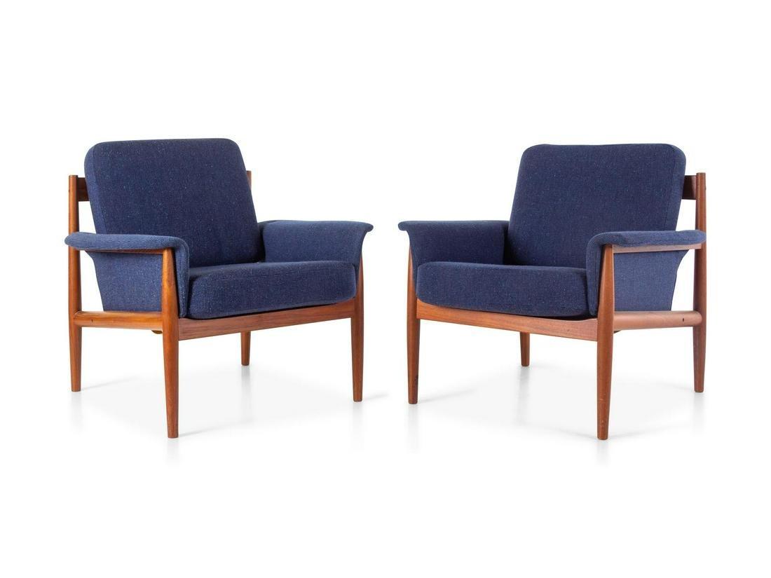 Grete Jalk  Pair of Lounge Chairs France & Daverkosen,
