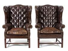 A Pair of George II Brown Leather Upholstered Wing