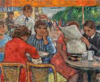 Francois Gall (French, 1912-1987) Outdoor Cafe Scene
