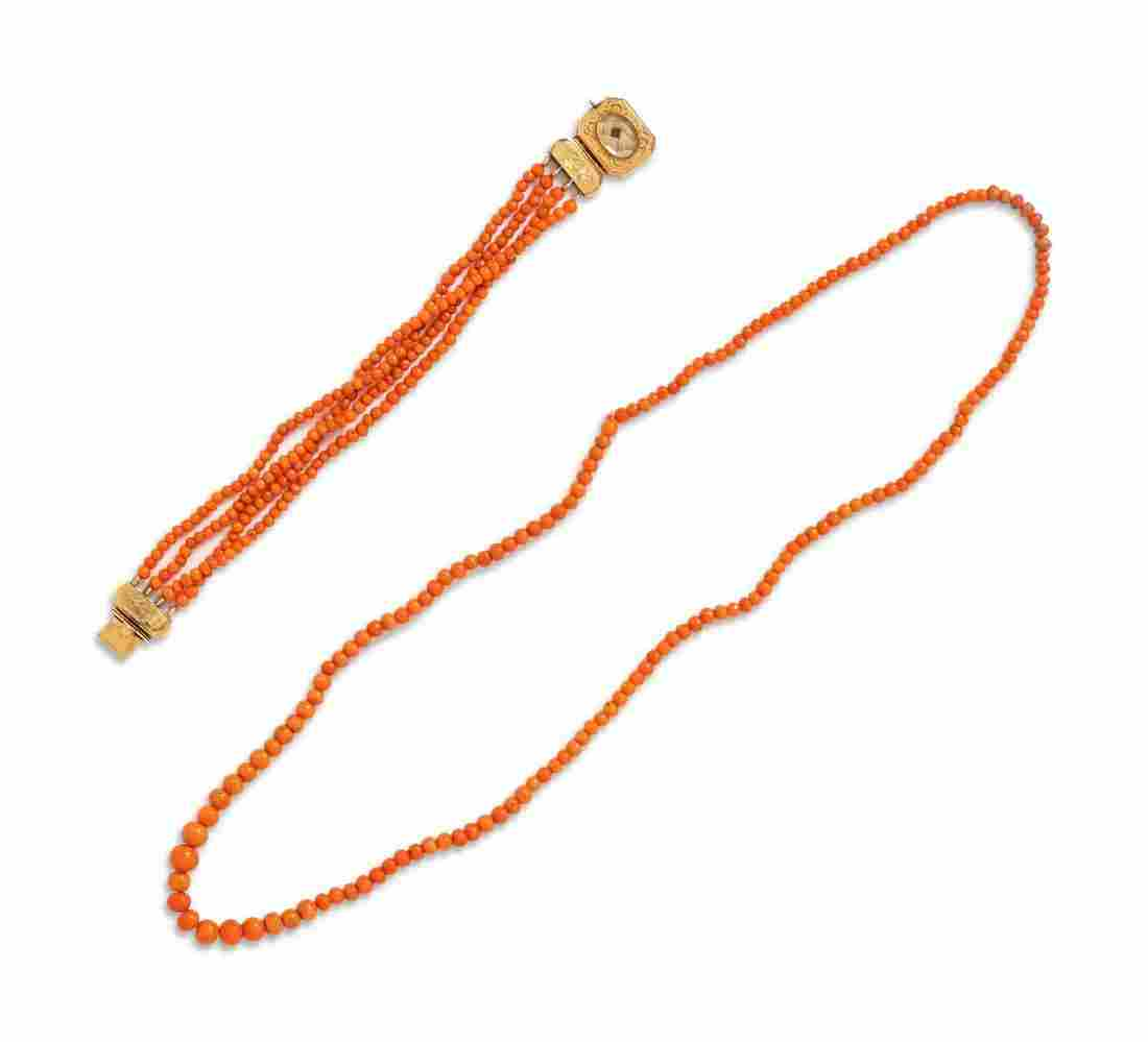 A Collection of Coral Bead Jewelry,