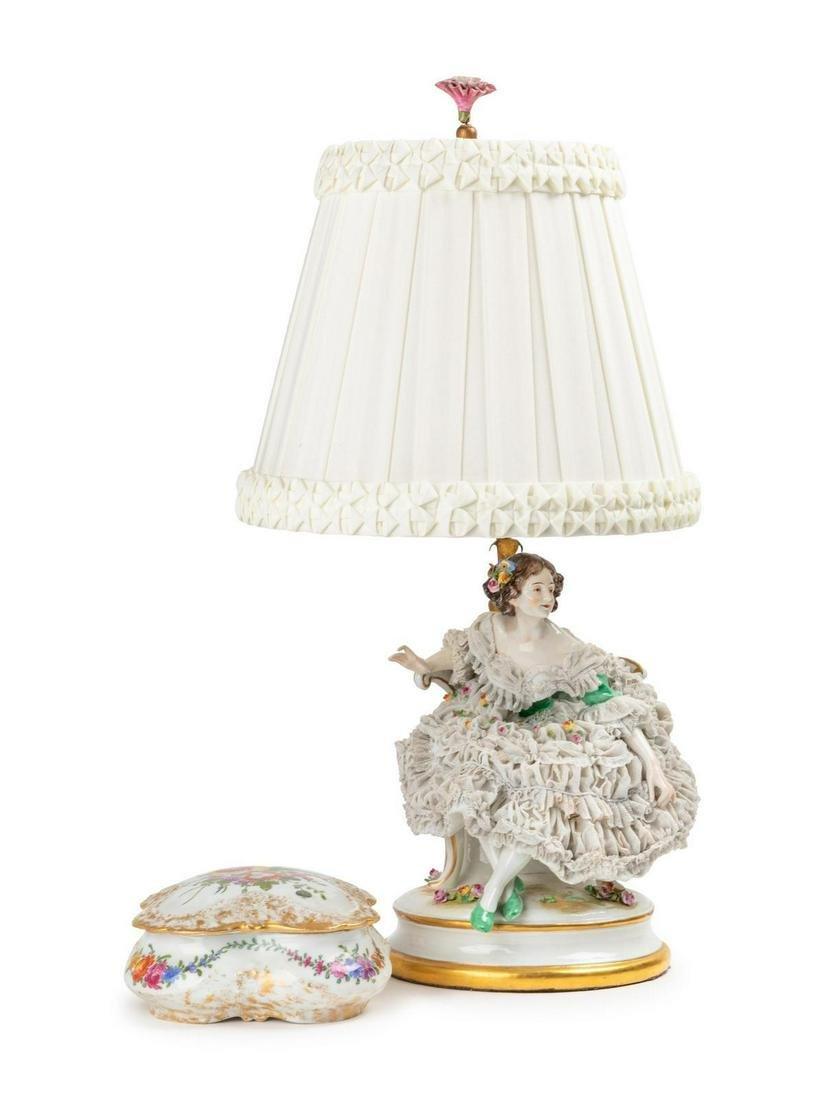 A Dresden Lace Porcelain Figural Lamp