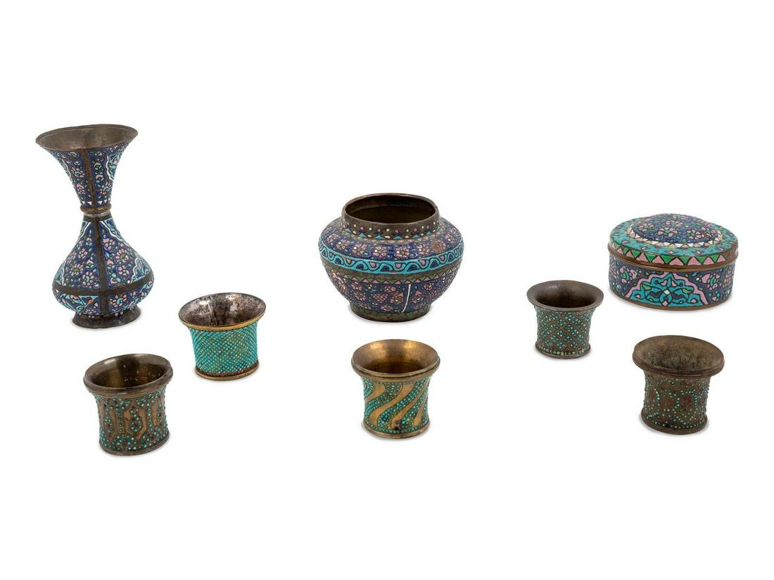 A Collection of Qajar Enamel on Copper Objects