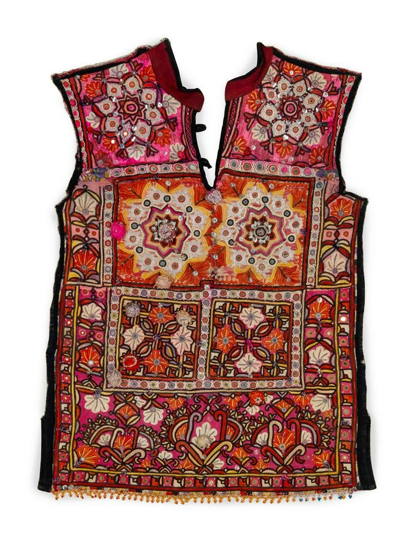 Two Indian Silk Embroidered and Mica Mounted Cotton