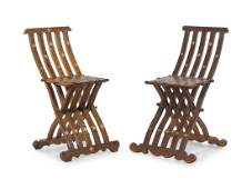 A Near Pair of Syrian MotherofPearl Inlaid Chairs