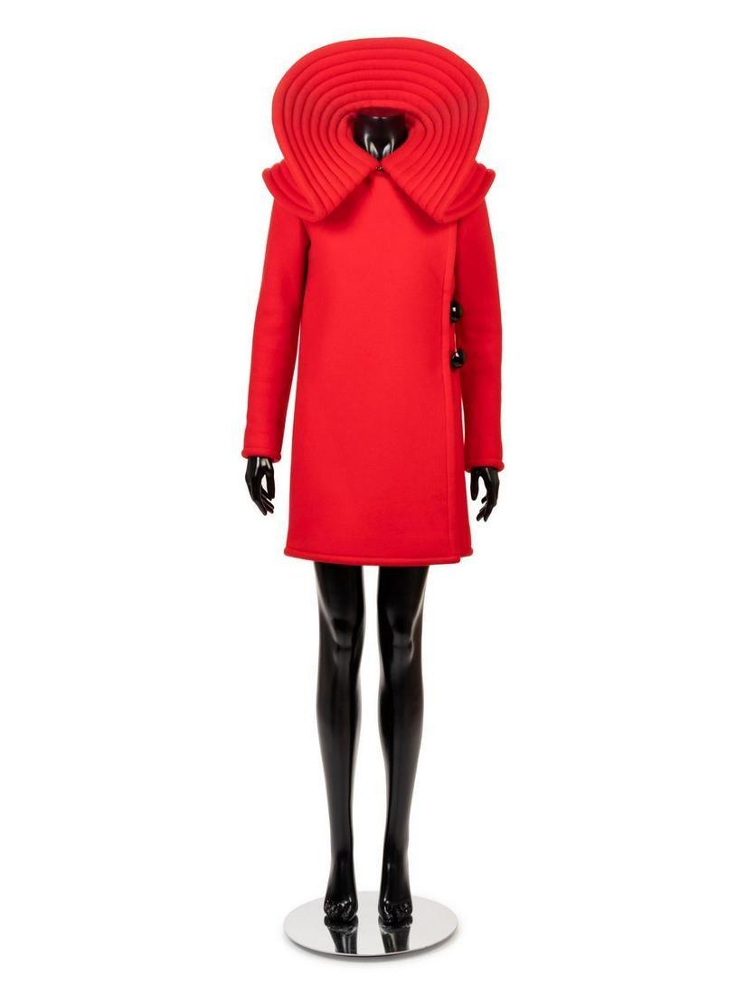 Pierre Cardin Red Wool Coat, 1960s
