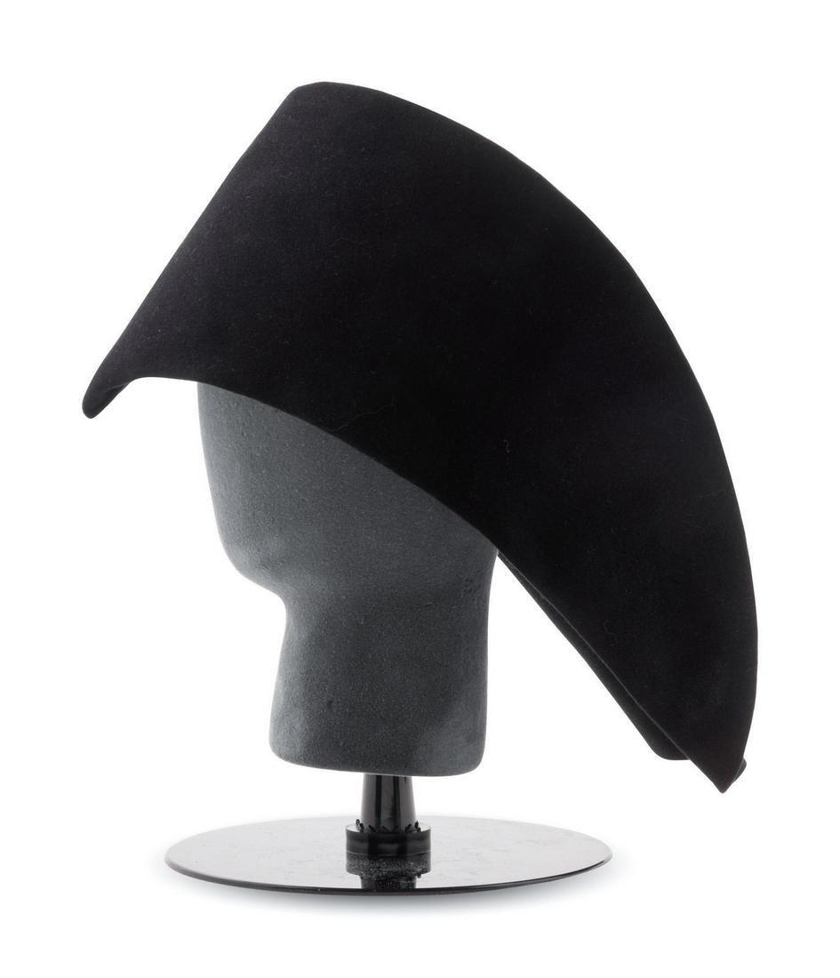 Two Pierre Cardin Black Felt Hats, 1960-70s