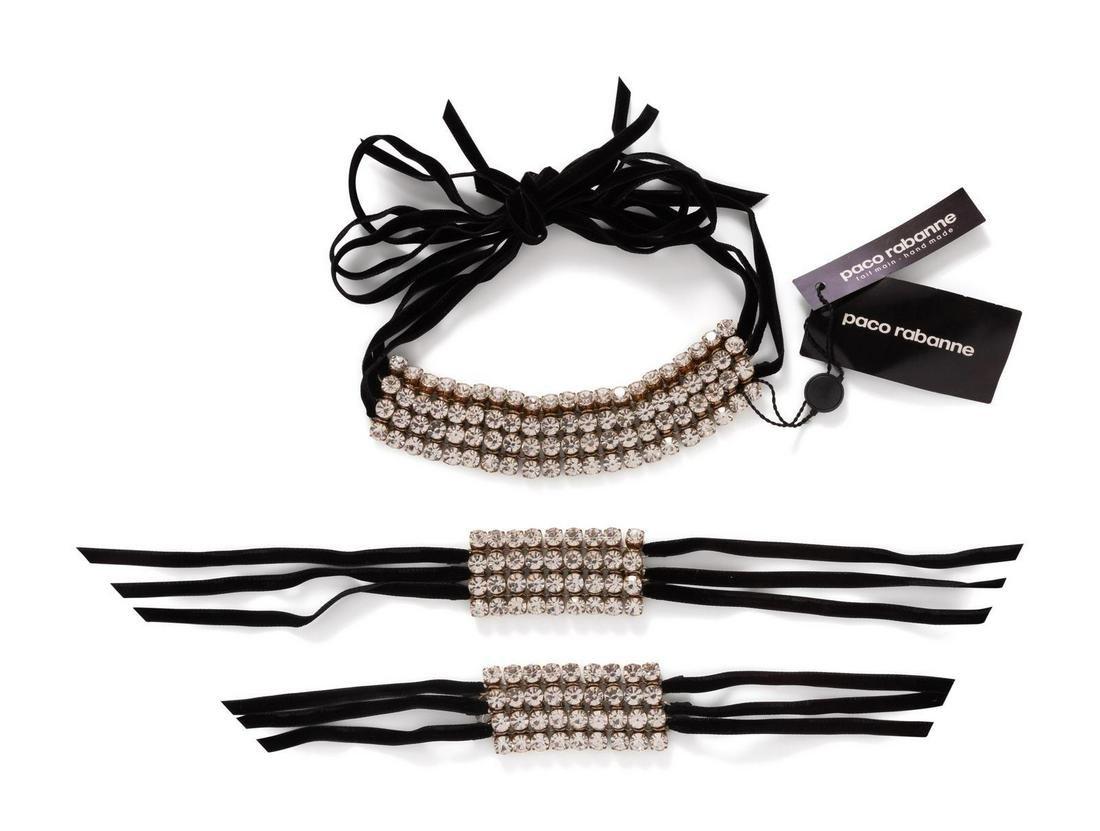 Paco Rabanne, velvet ribbon and rhinestone cuffs and