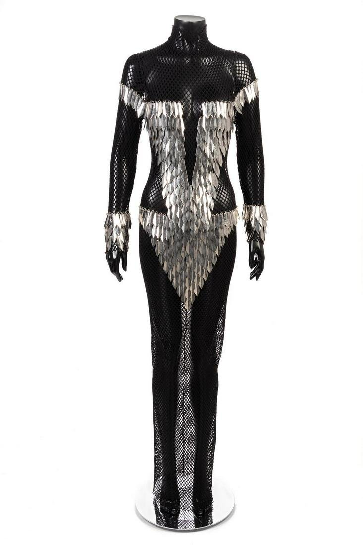 Paco Rabanne Fishnet Dress with Faceted Metal
