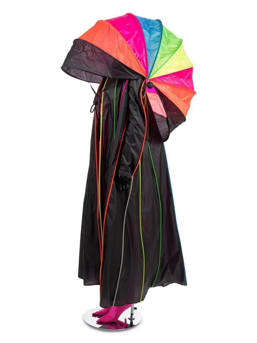 Paco Rabanne Nylon Rain Coat with Pink Jumpsuit, 1990s