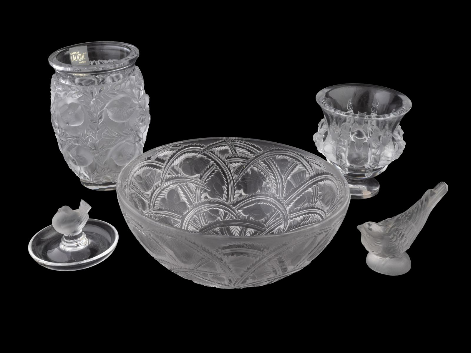 Four Lalique Glass Articles Height of tallest 6 3/4