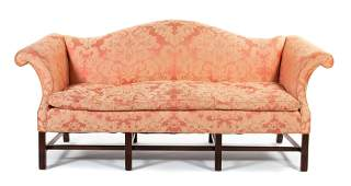A George III Style Mahogany Camelback Sofa Height 31 x