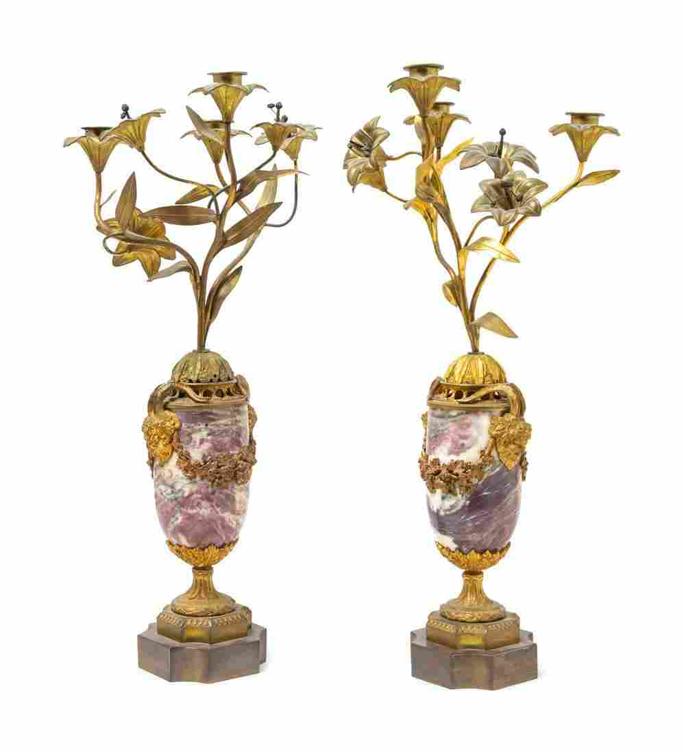 A Pair of Neoclassical Gilt Bronze Mounted Marble