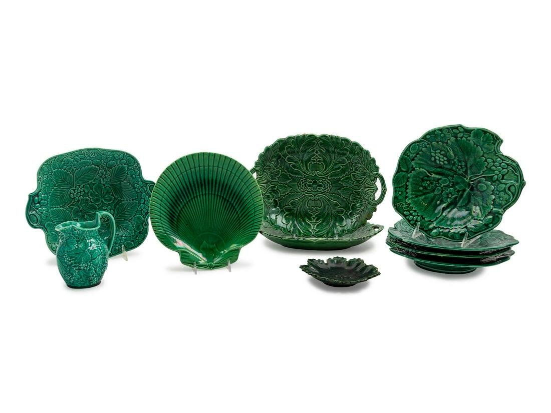 Ten English Molded and Green-Glazed Majolica Dishes