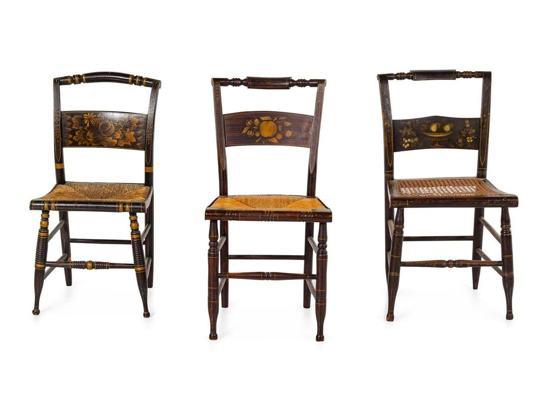 Three Grain-Painted and Gilt Stencil-Decorated