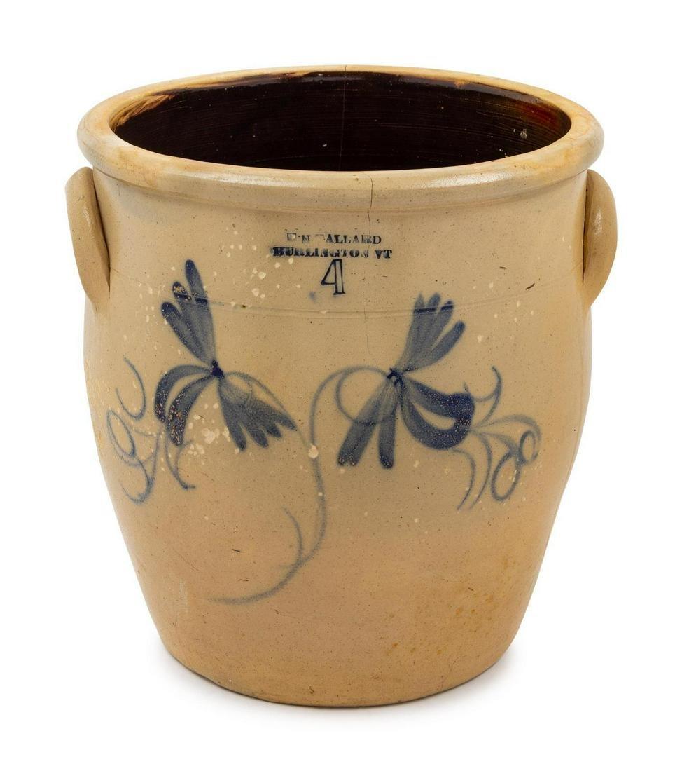 A Cobalt-Decorated Stoneware Four-Gallon Crock