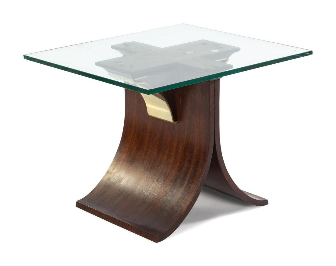 A Modernist Wood Veneer and Glass Side Table