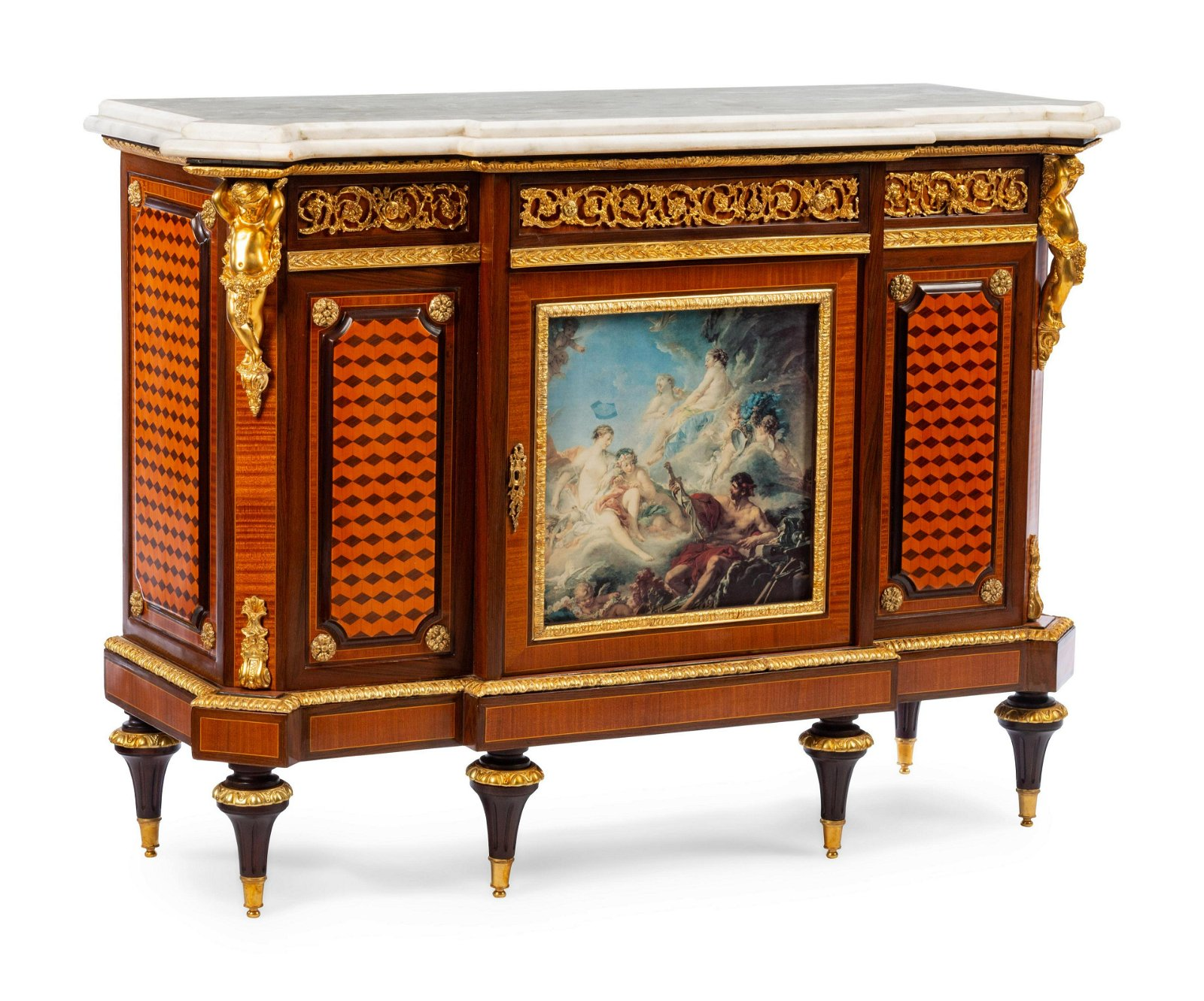 A Louis XVI Style Gilt Bronze Mounted Cabinet