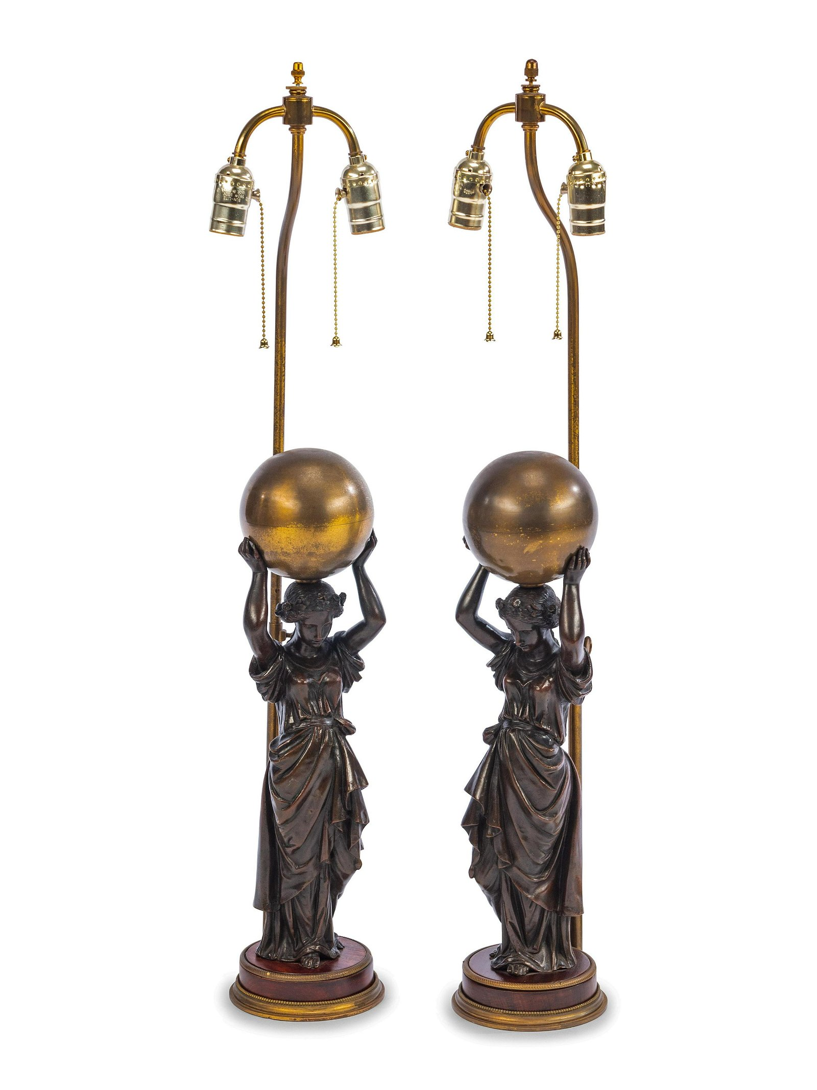 A Pair of French Gilt and Patinated Bronze Figures