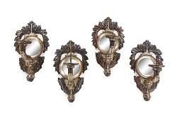 A Set of Four Italian Silvered Metal Single-Light