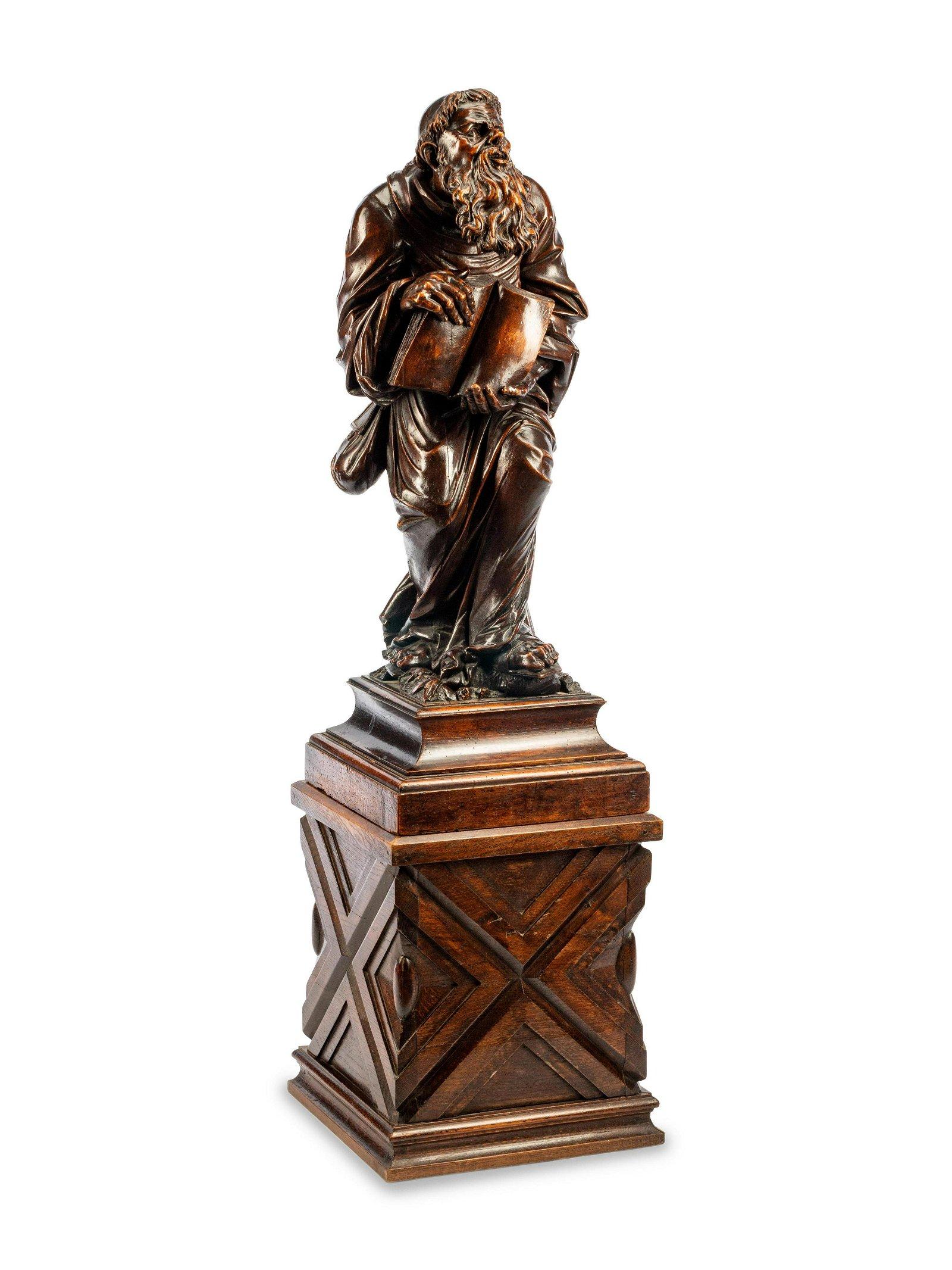 A Renaissance Revival Carved Wood Figure of a Saint