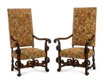A Pair of Continental Baroque Style Walnut Armchairs
