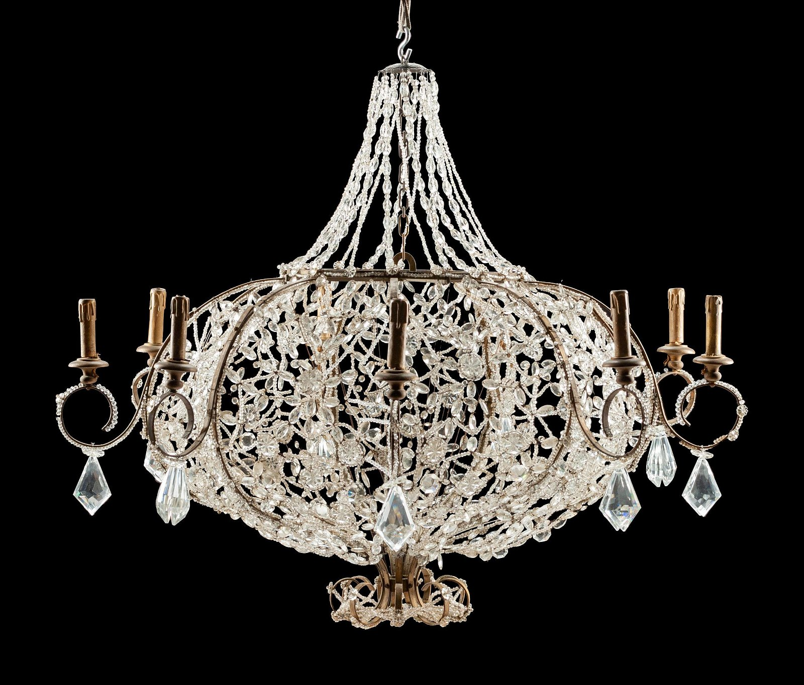 A Continental Gilt Metal and Beaded Nine-Light