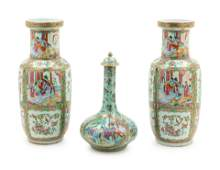 Three Chinese Export Famille Rose Porcelain Vases