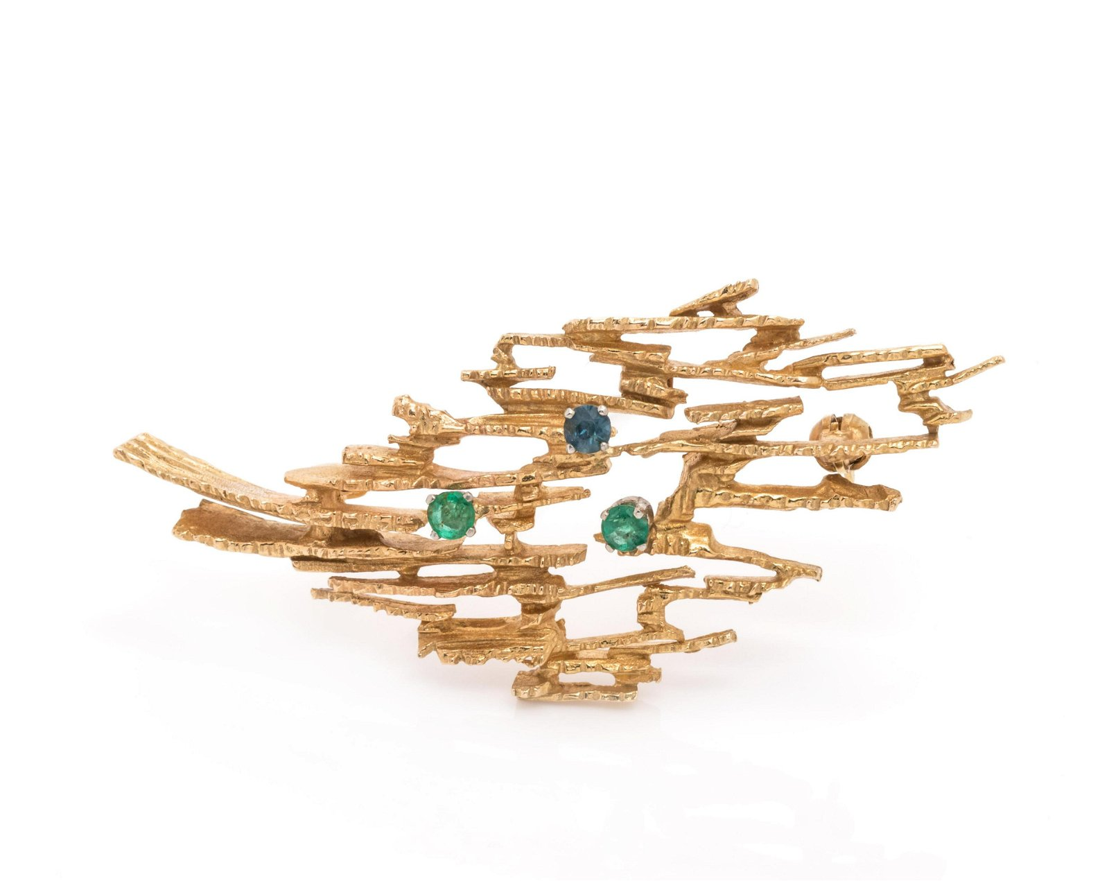 BRUTALIST, YELLOW GOLD AND MULTIGEM BROOCH