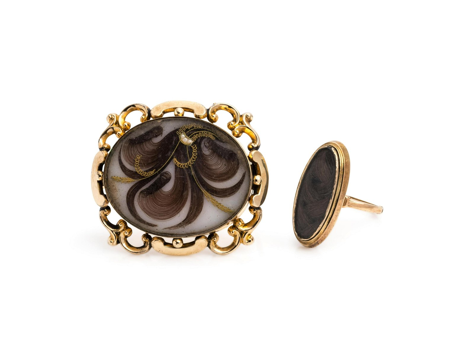 VICTORIAN, COLLECTION OF MOURNING HAIR JEWELRY