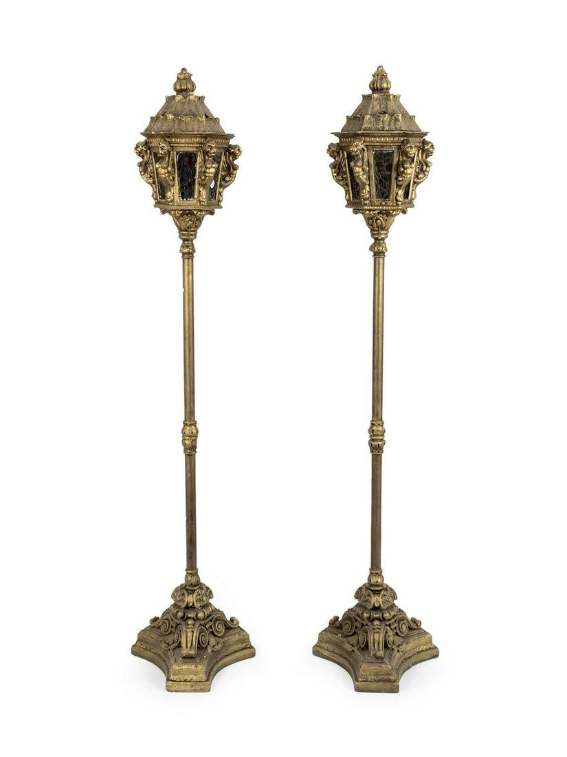 A Pair of Venetian Style Gondola Lanterns Height 53 1/4
