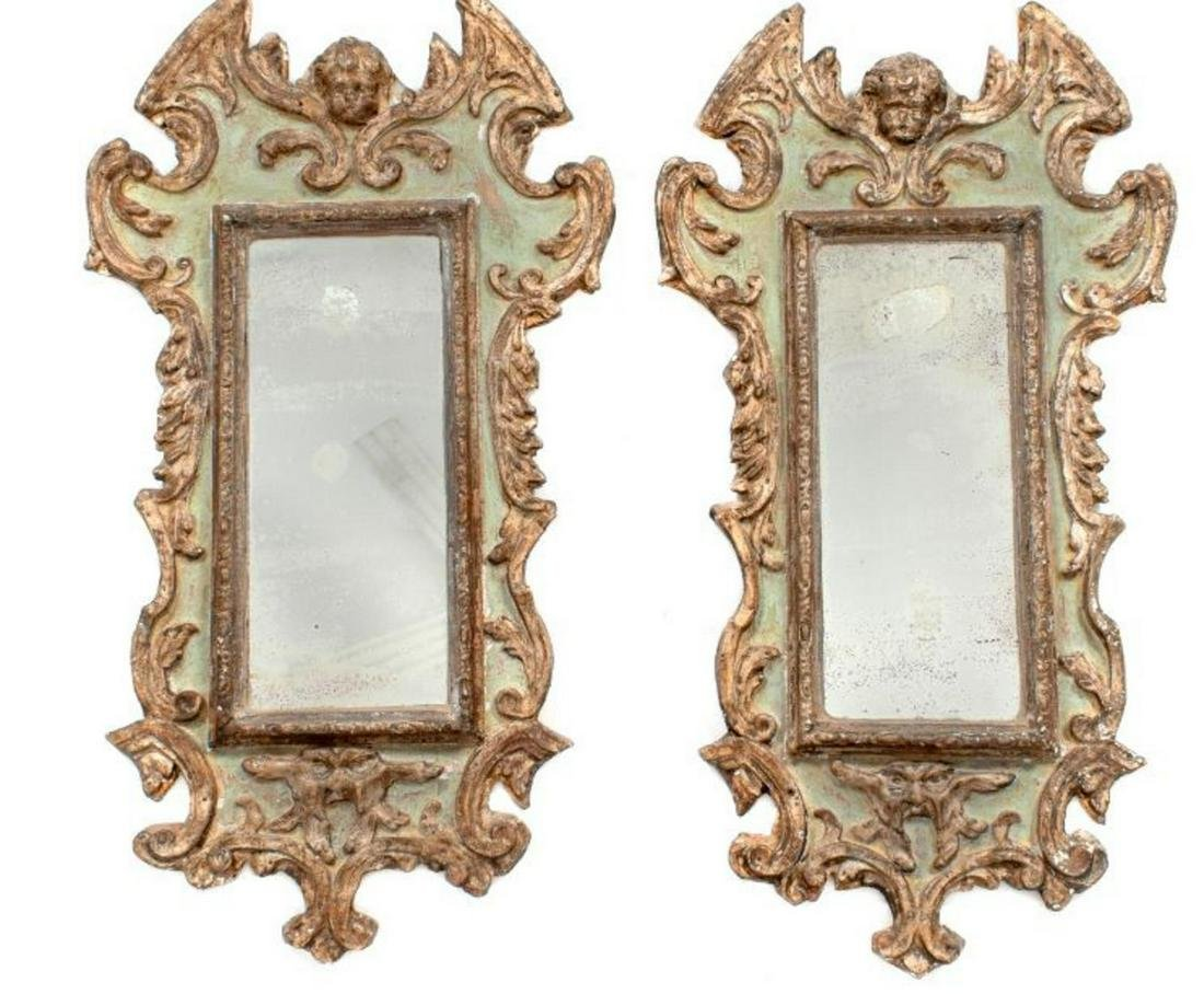 A Pair of Italian Painted and Gilt Gesso Mirrors