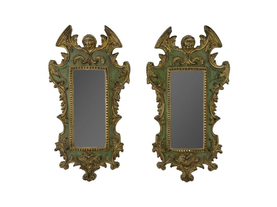 A Pair of Italian Neoclassical Style Parcel-Gilt and