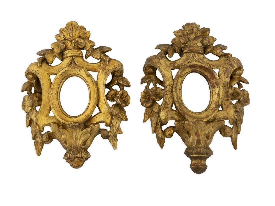 A Near Pair of Venetian Giltwood Frames Height 12