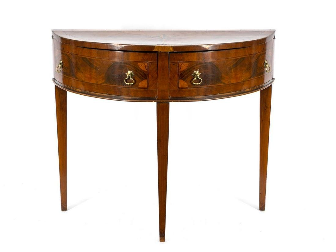 A Northern Italian Inlaid Walnut Demilune Console Table