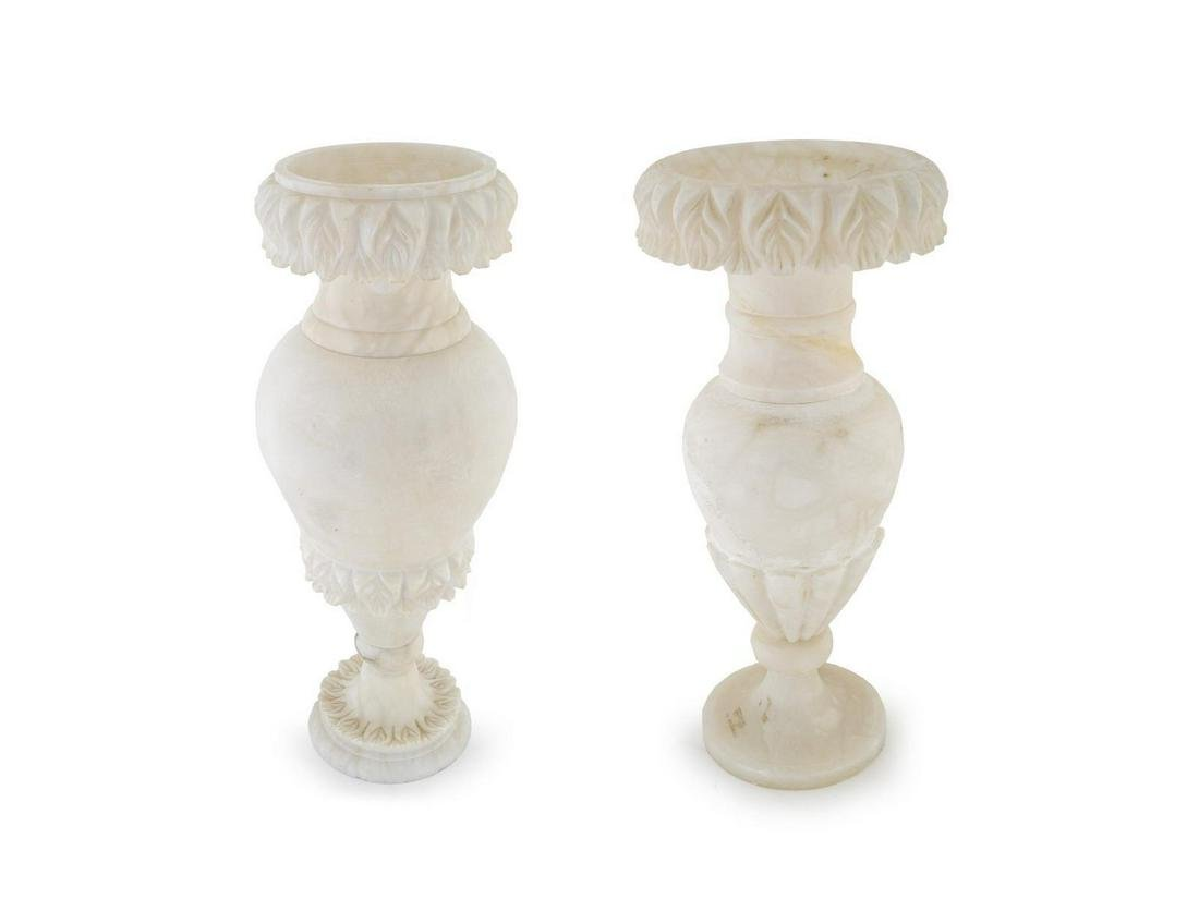 Two Similar Italian Alabaster Lamps Height of tallest