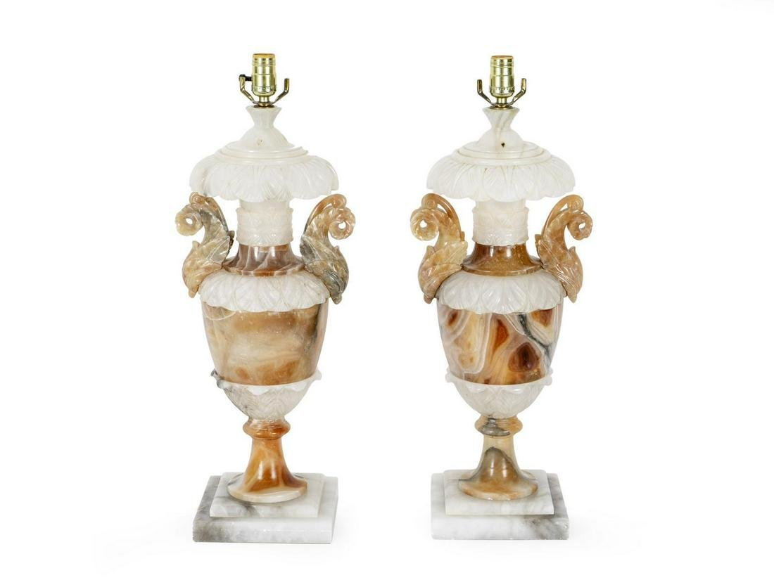A Pair of Italian Carved Alabaster Table Lamps Height