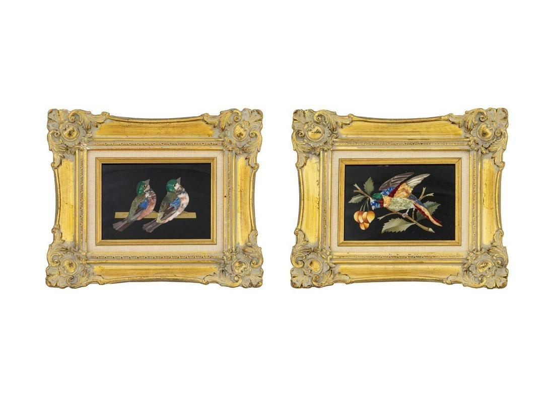 Three Italian Pietra Dura Plaques Each 5 x 6 1/2