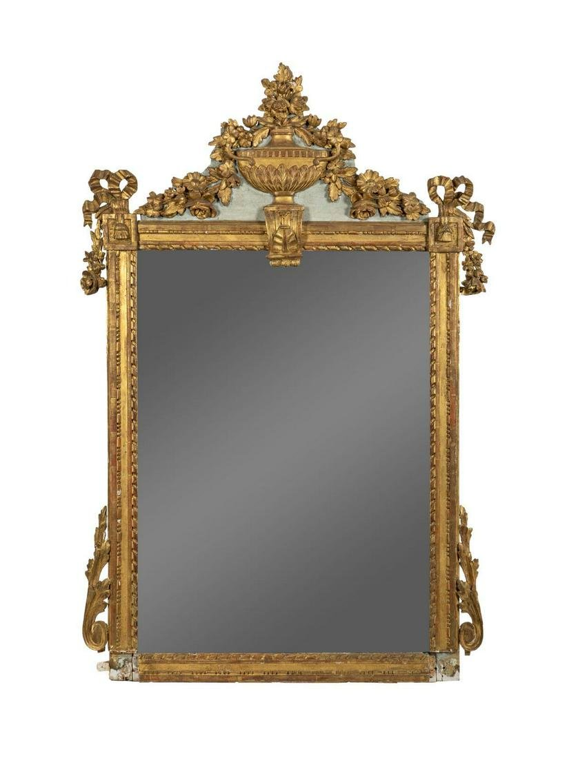 A Louis XVI Style Giltwood Mirror Height 65 x width 40