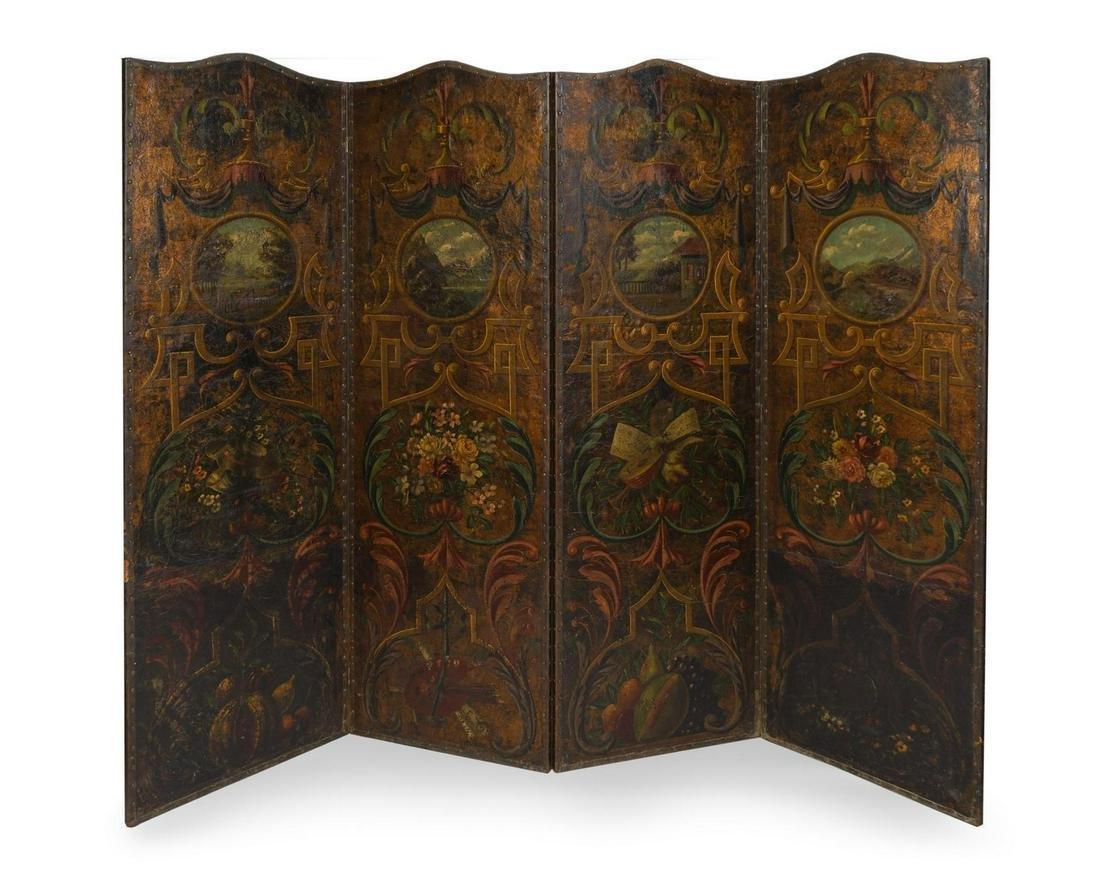 An English Painted Leather Four Panel Floor Screen