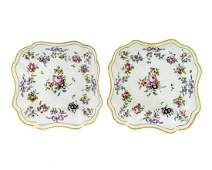 A Pair of Bristol Porcelain Square Dishes Width 8 x