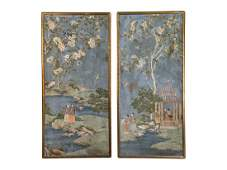 A Pair of Chinese Wallpaper Panels Framed height 83 x