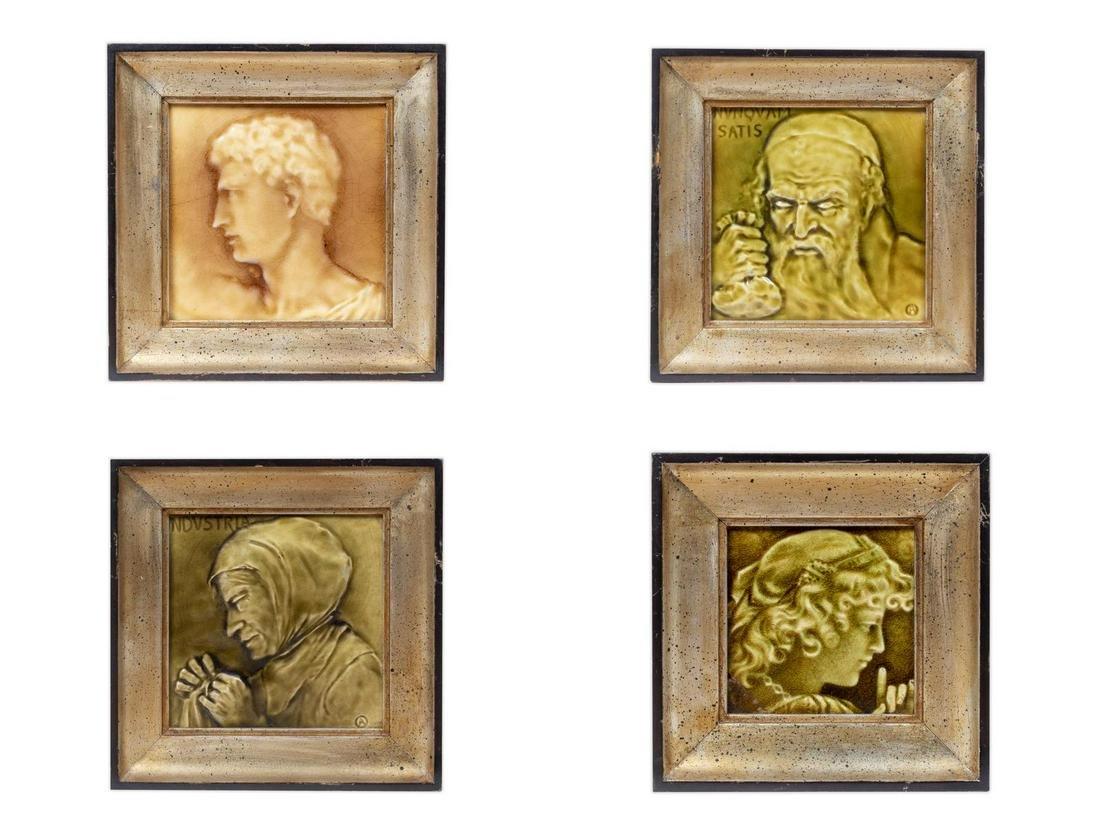 A Group of Four American Framed Tiles Largest framed 8