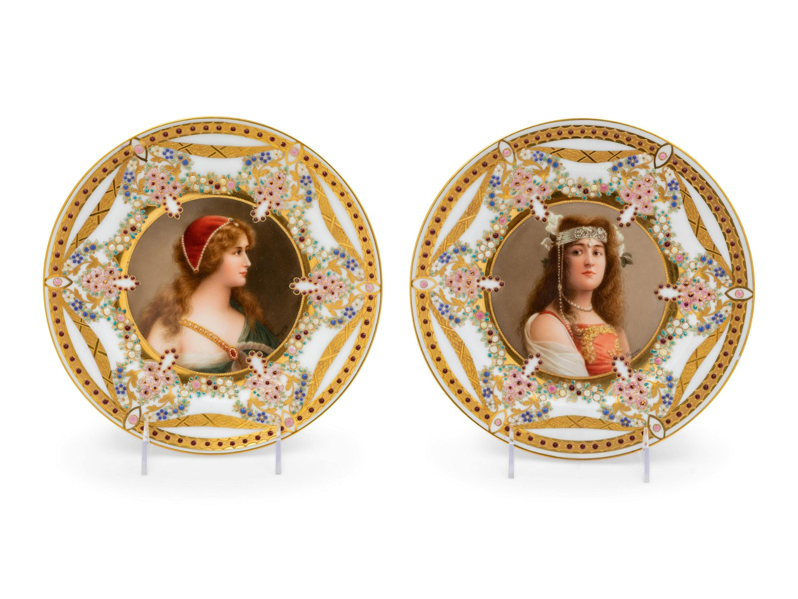 A Pair of Vienna Porcelain Cabinet Plates
